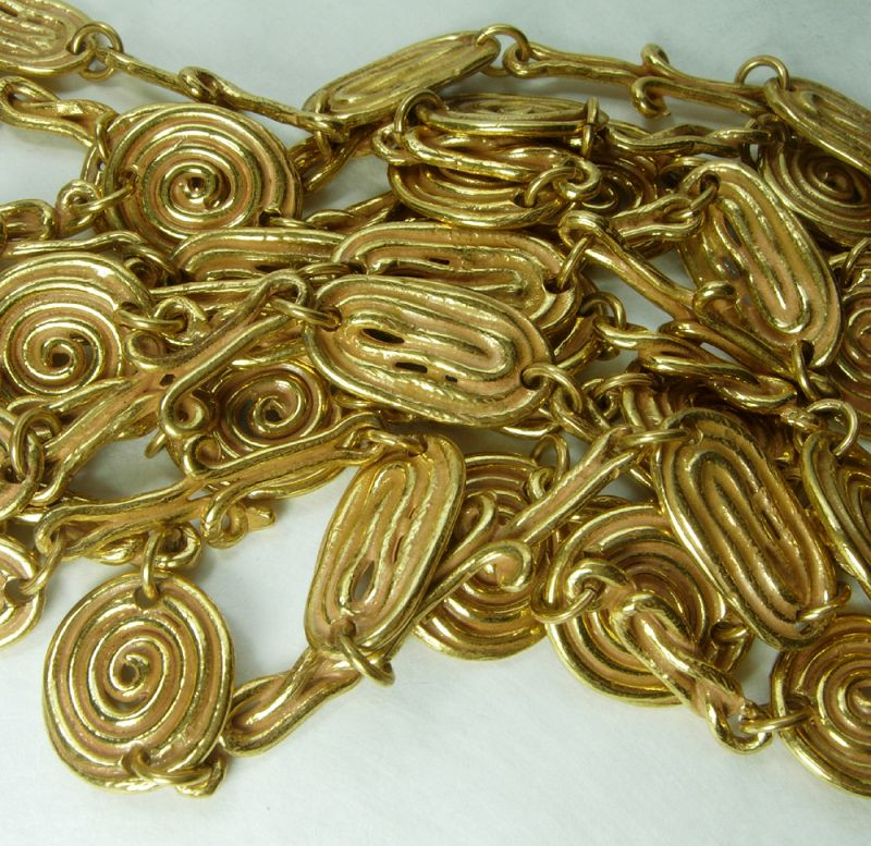 70s French Byzantine Style Pair Sautoir Necklaces Cast Enameled Metal
