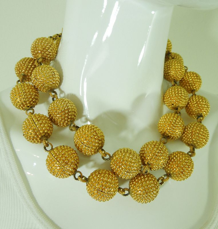 1980s French Runway Necklace Wired Textured Balls Bamboo Form Clasp