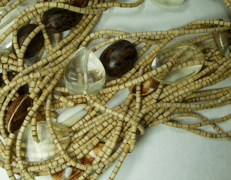 1980s Signed Monies Necklace Coconut Shell Carved Horn Lucite Shells