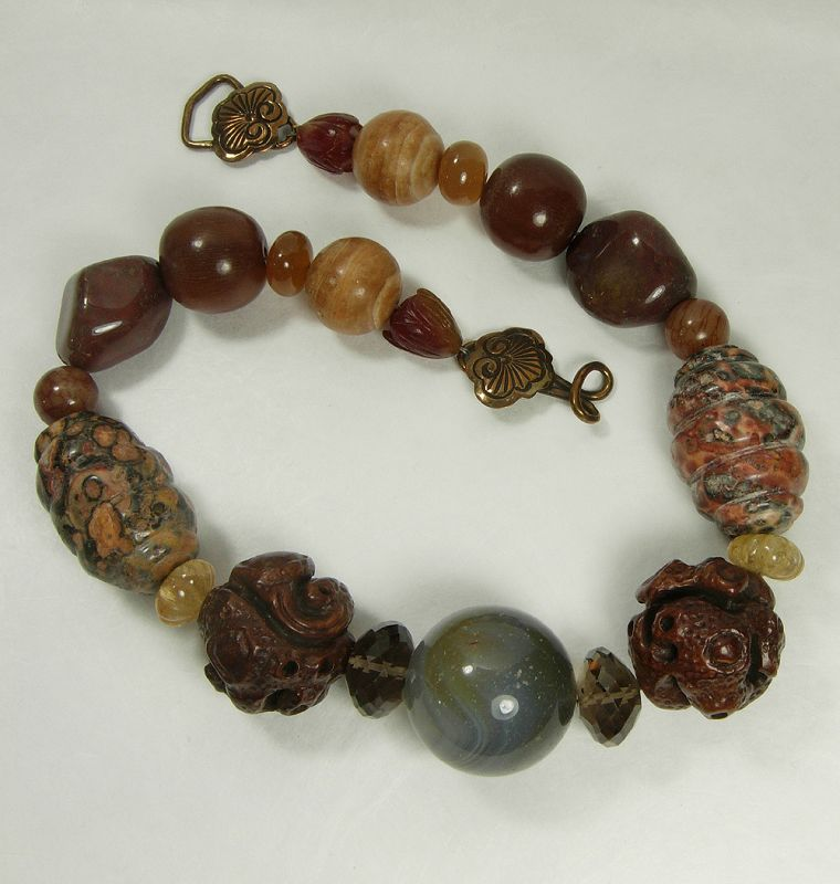 80s Stephen Dweck Necklace Gray Leopard Agate Quartz Carved Wood Horn