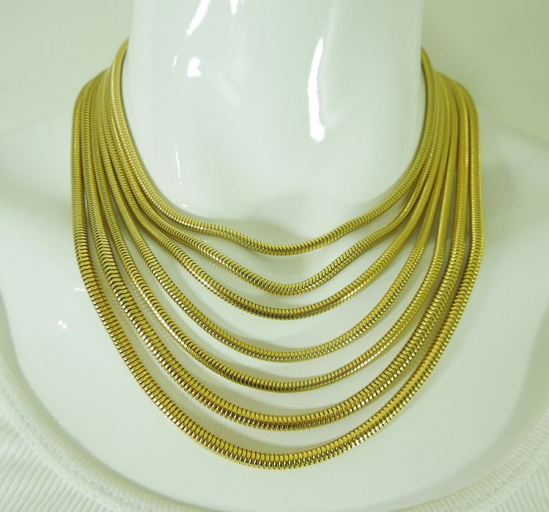 1980s Barrera Couture Runway Wide Bracelet Necklace Snake Chains