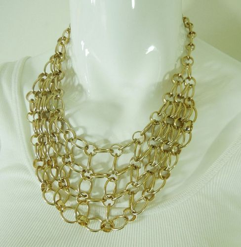 Kenneth Lane Couture Collection KJL Chain Link Bib Necklace Modernist
