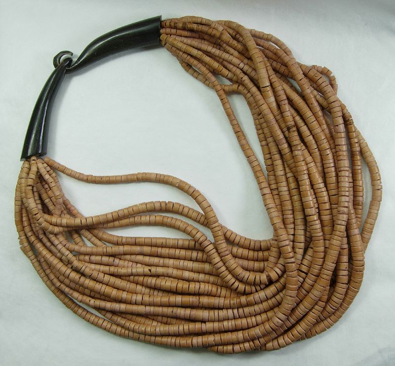 Unsigned Monies Coconut Shell Carved Horn Necklace 17 Strands Runway