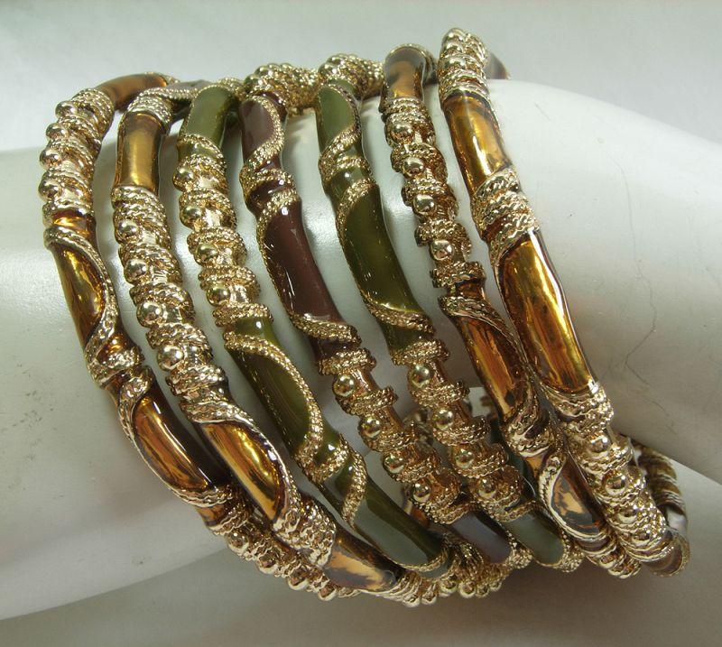 1980s Couture Enamel Heavy Goldtone Bangle Bracelets Tribal Style
