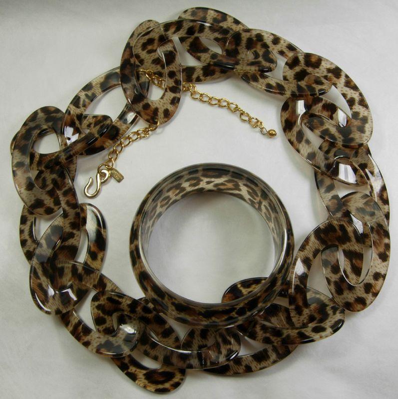 Signed Kenneth J Lane KJL Leopard Lucite Chain Necklace Bracelet Set