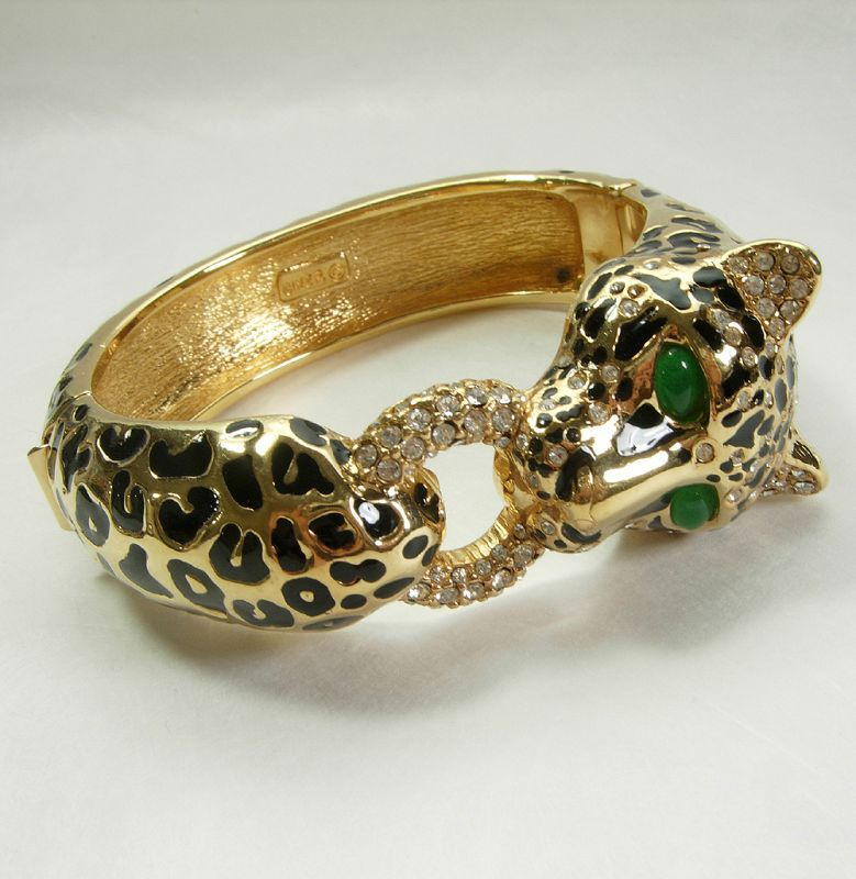 Signed Ciner Leopard Bracelet Black Enamel Green Glass Rhinestones