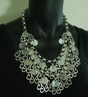 Ben Amun Tribal Style Statement Bib Necklace Heavy Silvertone Metal