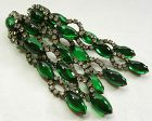 1960s KJL Kenneth J Lane Earrings Green Poured Glass Diamanté 3.5 Inch