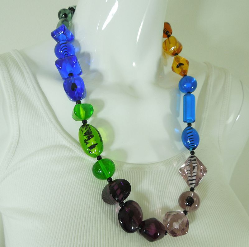 1960s Necklace Huge Art Glass French Beads Jewel Tones 27 Inches