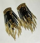 1970s French Runway Earrings Cascading Drops Glass Rods 4 Inches