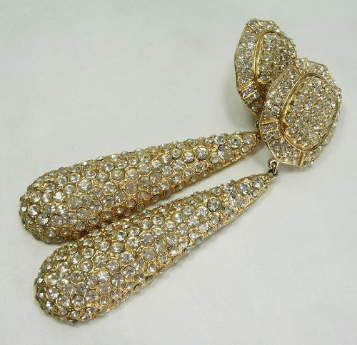 70s Runway Earrings Pave Rhinestones Heavy Cast Goldtone Metal 4+ Inch