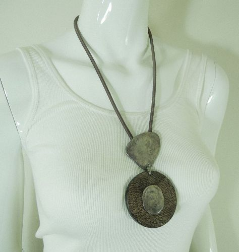 90s Couture Necklace La Tribu Rigaux France Sculpted Metal Carved Horn