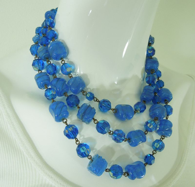 1950 French Blue Poured Glass Wired Necklace Heavy Dark Goldtone Metal