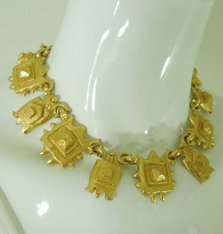 1980s Couture French Necklace Veronique Cheranich Paris Etruscan Style