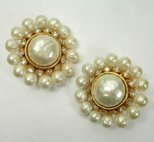 1980s Runway Dominique Aurientis Paris Earrings Faux Pearls Strass