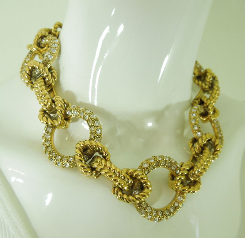80s Robert Goossens Paris Necklace Signed Statement Brilliant Stones