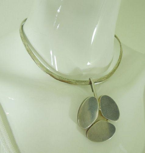 1960s Hans Hansen Denmark Sterling Silver Pendant on Sterling Necklace
