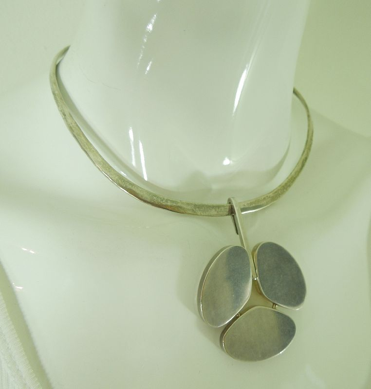 1960s Hans Hansen Denmark Sterling Silver Pendant on Sterling Necklace