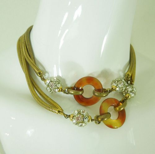 70s French Sautoir Necklace Brilliant Stones Snake Chains Lucite Rings