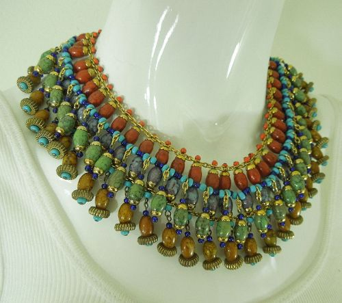 60s French Glass Collier Huge Necklace Faux Jade Amber Coral Turquoise