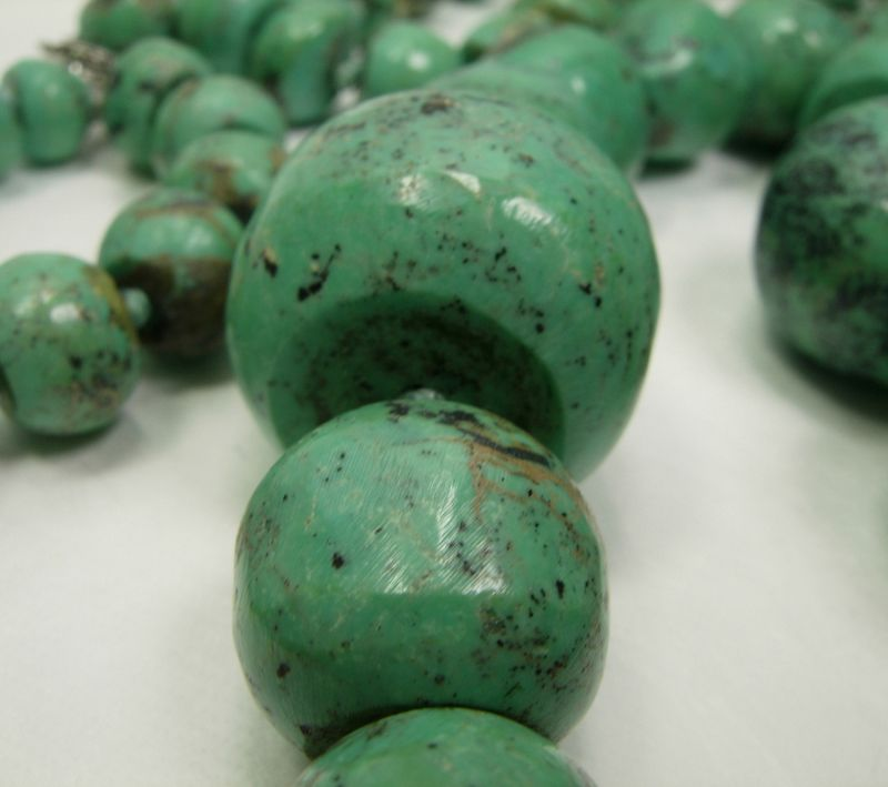 Pair Very Big 1970s Turquoise Necklaces Hand Carved Beads Artist Sign.