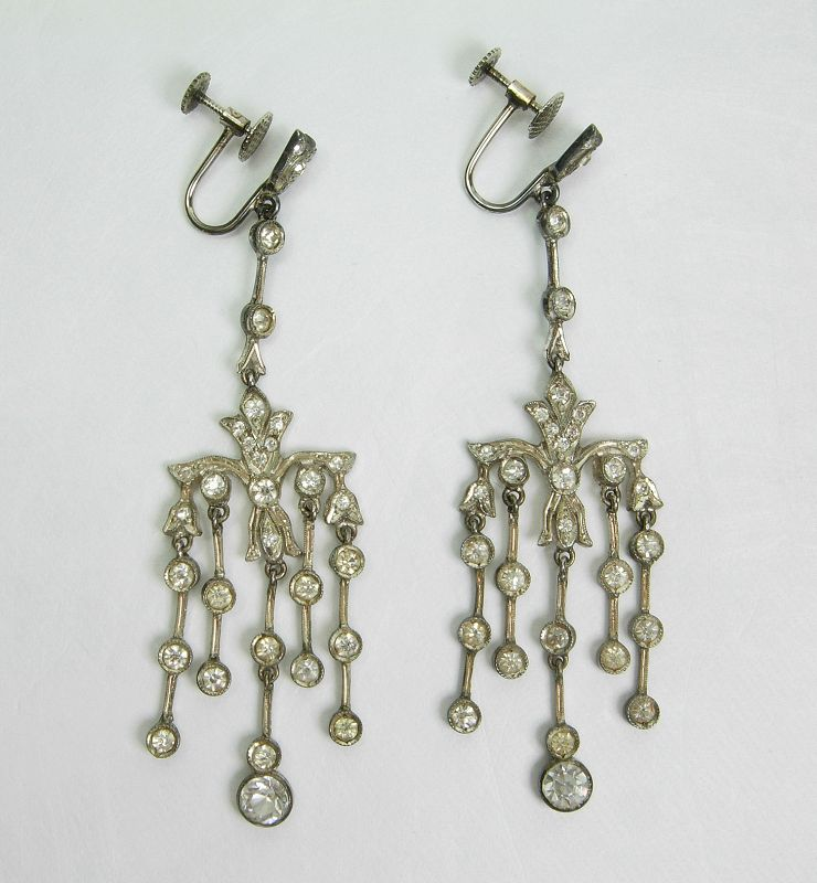 C 1910 Edwardian Long Earrings Sterling Silver 10K Gold Paste Stones