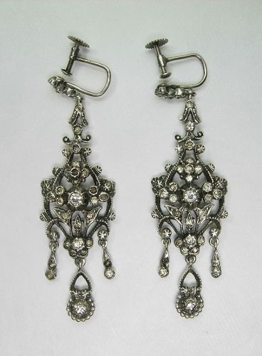 C 1910 935 Silver Paste Stones Earrings Austro Hungarian 18th C Style