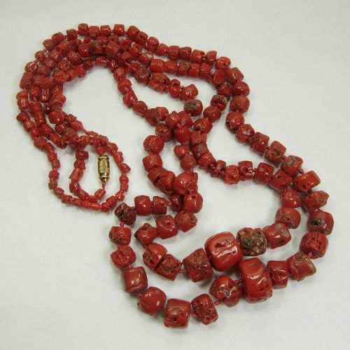 Pair 1970s Mediterranean Red Coral Necklaces Graduated Barrel Beads