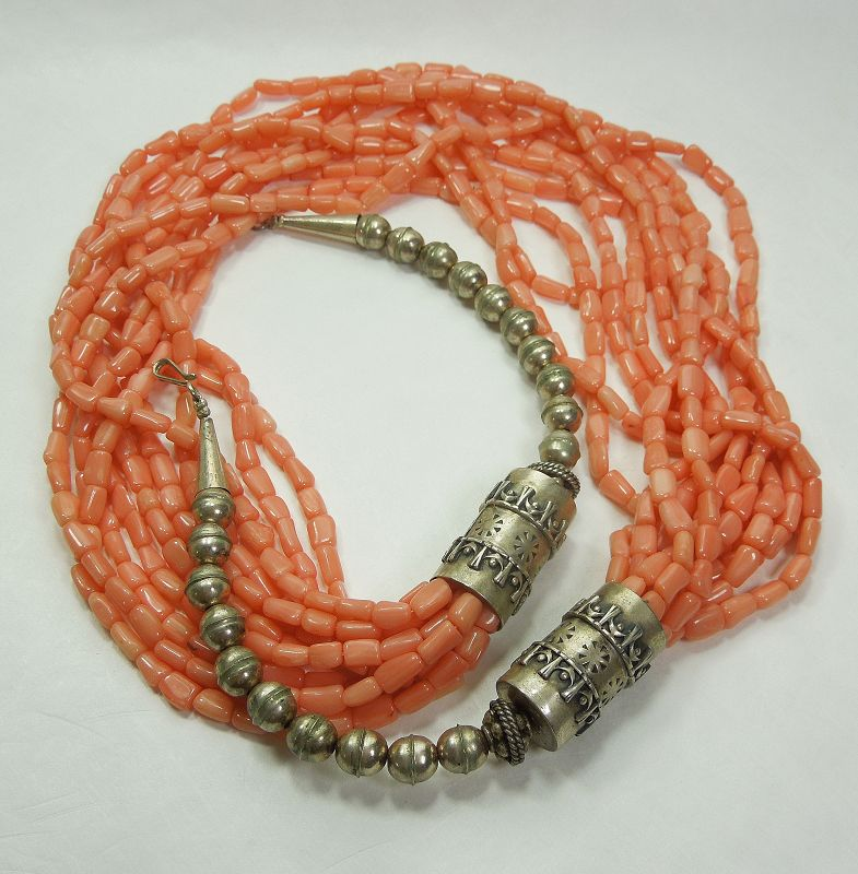 Vintage Salmon Coral Sterling Silver Necklace Native American 126 Gr.