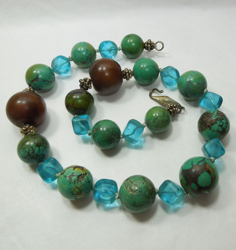 Vintage Chinese Turquoise Baltic Amber Fluorite Silver Necklace 165 Gr
