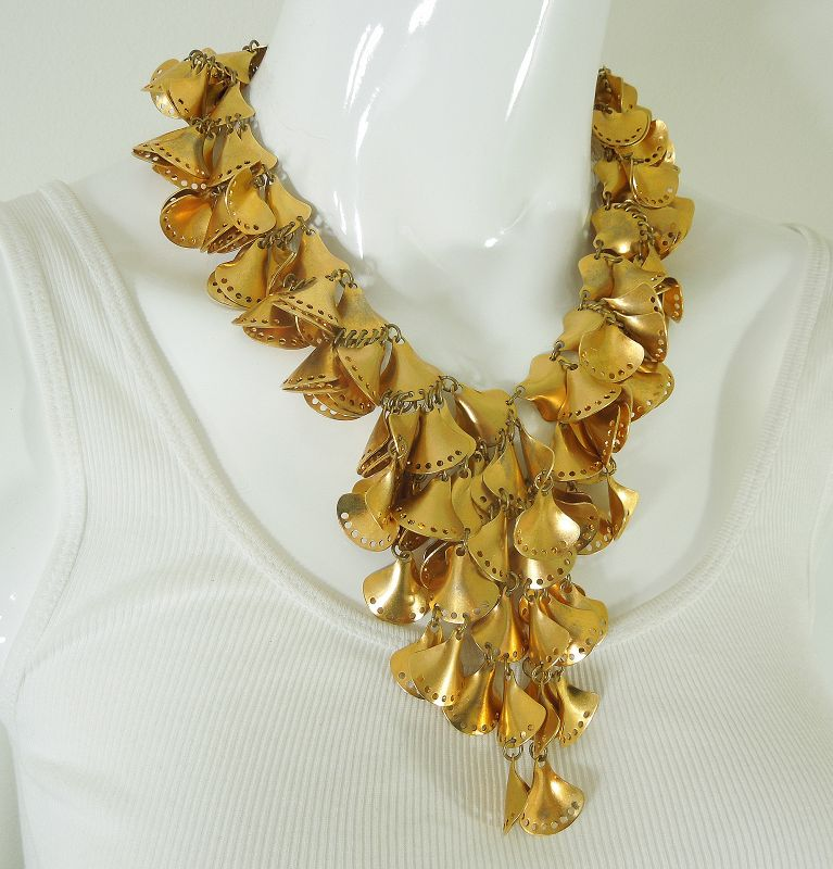 1980s Couture French Cascading Necklace Heavy Goldtone Layered Drops