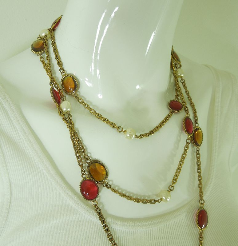1984 Signed Chanel Gripoix Poured Glass Long Necklace Pink Topaz 66 In