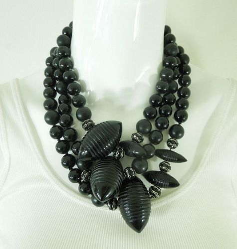 Runway 80s Couture Necklace Carved Black Lucite Black Rondelles