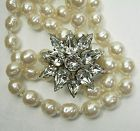 60s French Brilliant Crystal Rhinestone Pin on Gripoix Pearl Necklace