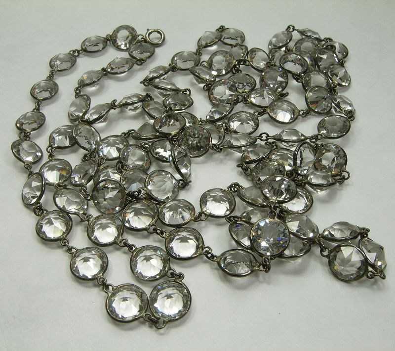 Antique French Silver Rock Crystal Guard Chain Necklace Large Stones