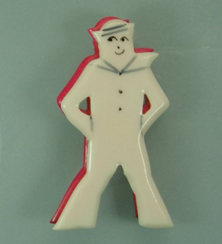 1970s French Plastic Layered Painted Figural Sailor Pin