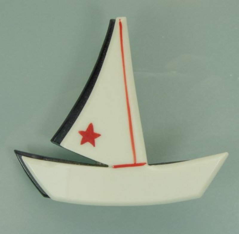 1970s French Plastic Layered Painted Sailboat Brooch