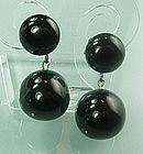True Black Bakelite 1960s French Drop Clip Earrings