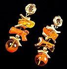 Christian Lacroix Coral Form Drop Earrings FRANCE