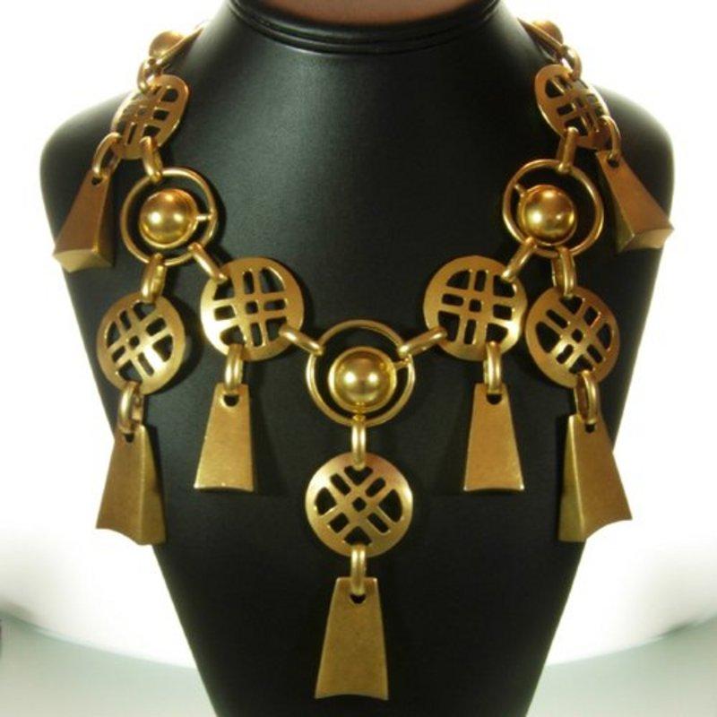 Vintage 1970s Modernist Geometric Bib Drop Necklace