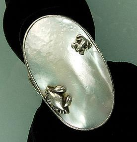 Massive Antique Carl Schon Silver Pearl Figural Ring