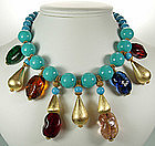1960s Cadoro Necklace Huge Gripoix Poured Glass Beads
