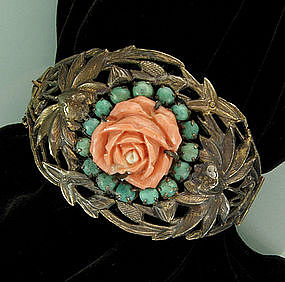 Chinese Sterling Carved Pink Coral, Turquoise Bracelet