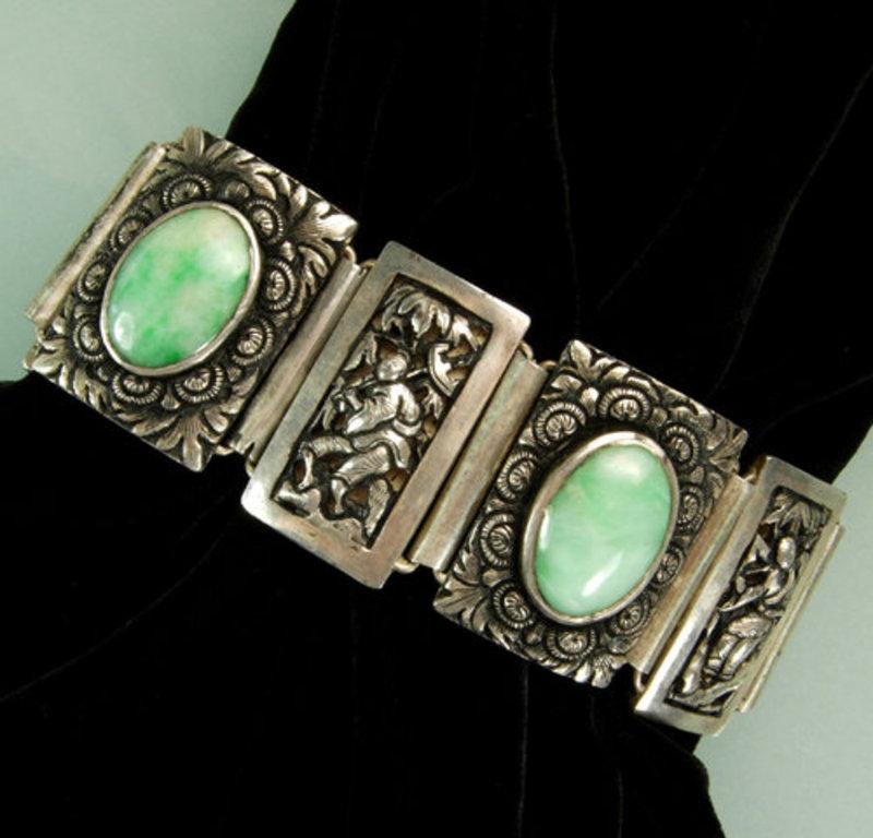 Stunning Heavy Chinese Figural Silver Jade Bracelet