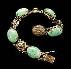 Antique Chinese Silver Gilt and Jade Cabochons Bracelet