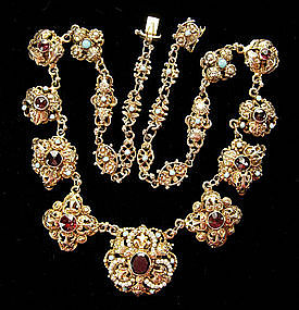 Austro Hungarian Silver Gilt Garnet and Pearl Necklace