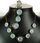 Art Deco Silver Necklace Bracelet Huge Opaline Stones
