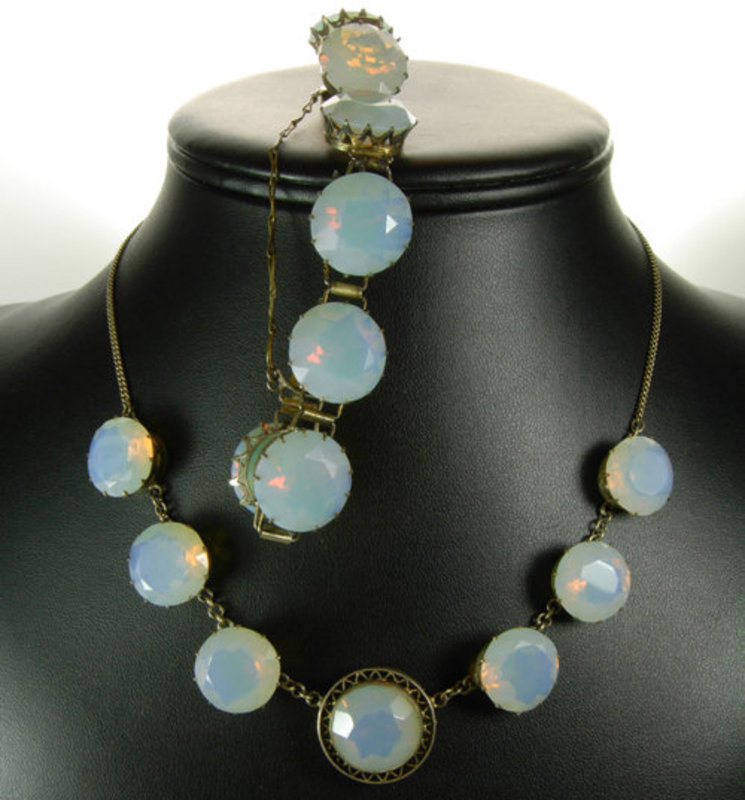 Art Deco Silver Necklace Bracelet Huge Opaline Stones