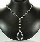 Glittering Art Deco Sterling Crystal Sautoir Necklace