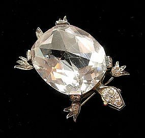 Very Big Art Deco Silver Crystal Paste Turtle Form Pin